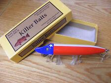 "Killer Baits Rusty Jesse Heddon Style 8""Musky Glasseye Vamp Lone Star Texas Flag"