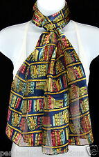 The Library Womens Scarf Teacher Books Reading Scarfs Gift Her Blue Scarves New