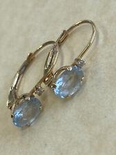 14K Solid Yellow Gold Aquamarine Gemstone Leverback Pierced Earrings .9 Grams