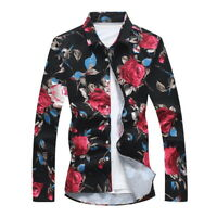 Stylish Men's Cotton Floral Print Short Sleeve Shirt Slim Long Sleeves Tops US