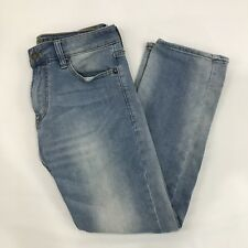 American Eagle Slim Straight Cropped Denim Jeans Size 28x28 Distressed Light