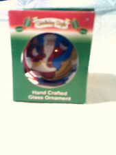 Holiday Style,Hand Crafted Glass Ornament Santa Theme