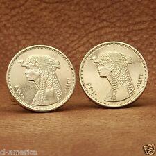 Egypt Cleopatra Coin Cufflinks, Egyptian Pharoah 50 Piastres Gold Tone