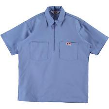 Ben Davis Short Sleeve Half Zip Work Shirt Solid Light Blue