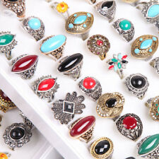 40pcs Wholesale Retro Turquoise Top Nature gemstone CZ Fashion rings Party Gifts