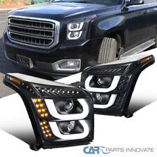 For 15-18 GMC Yukon/ Yukon XL Black LED & Signal Projector Headlights Left+Right