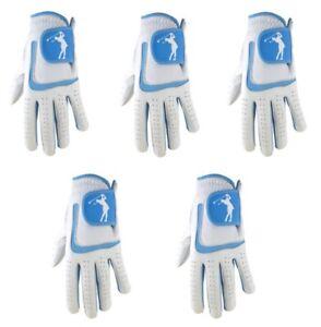 5 x Ladies 100% Super Soft Cabretta Leather Golf Glove With Blue Lycra