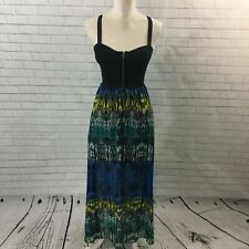 Material Girl Caged Back Southwestern Tribal Corset Maxi Dress Zip Front Sz S