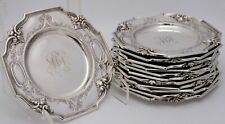 Gorham Sterling Silver Plates Edwardian Era Acanthus, Flowers, Scrolls Set of 12