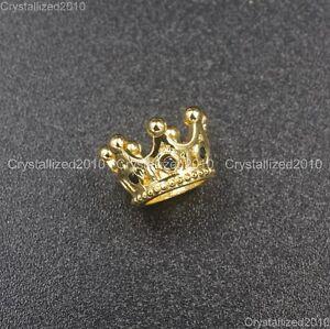 Zircon Gemstones Pave Queen Crown Big Hole Bracelet Connector Spacer Charm Beads