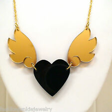 Black Heart with Gold Wings Necklace - Acrylic - Fashion Hearts Gift Goth NEW