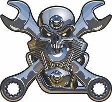 Wrench Crossbones Skull Sticker Motorcycle Gas Tank V Engine bumper moto Truck