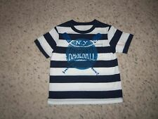 New Boy Osh Kosh Blue & White Striped Baseball T/Shirt Size 2T