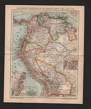 Mapa Map 1901: Columbia, Venezuela, Ecuador, Perú y Bolivia.