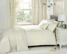 Everdean Cream Floral Embroidered King Size Duvet Cover Bed Set