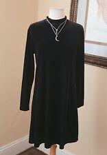 Vintage 90s Black Velvet Mini Skater Dress Long Sleeve Sz M Goth Grunge Witchy