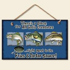 Novelty-Fun Wood Sign-Fish Plaque--There's a Place for all God's Creatures