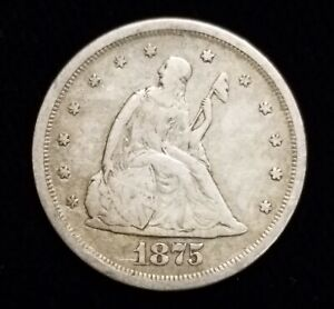1875-s Twenty Cent Piece 20c San Francisco in VF Condition