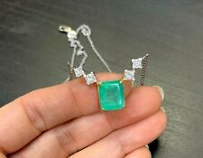 Wow! 3CT Natural Colombian Emerald 1CT Princess Cut Diamonds 14K Gold Necklace