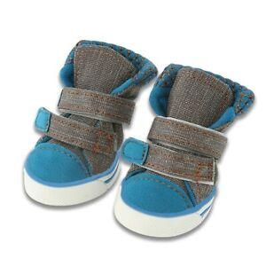 4Pcs Pet Dog Shoes Pet Canvas Breathable Casual Shoes Teddy Anti-Slip Walk Shoes