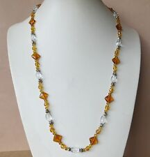 NEW Amber mix glass beaded necklace & earrings - continuous strand N675