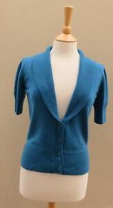 M & S Autograph 100% Cashmere Petrol Blue Short Sleeve Collared Cardigan 12