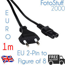 1m Euro 2 Pin Power Plug conducir a Iec C7 (Figura de 8 fig8) 1 metro de la UE Cable Cable