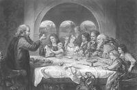 John Bunyan PILGRIM'S PROGRESS Scene DINNER FEAST ~ Old 1867 Art Print Engraving