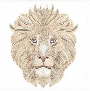 """Machine Embroidered Soft Safari Lion Applique Size 3.10"""" x 3.85"""""""