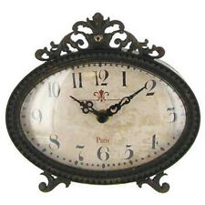 Table Clock Mantle Clock Chic Vintage Style Paris Clock Black Oval Shabby NEW