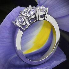 Three Stone 1.77 Carat Round Cut Diamond Engagement Ring White Gold