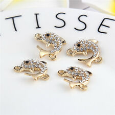 Gold Dolphin Beads Connector Rhinestones Fit DIY Bracelet Bangle Findings 10pcs