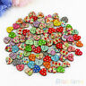 100Pcs Multicolor Heart Shape 2 Holes Wood Sewing Scrapbooking Buttons Cheap