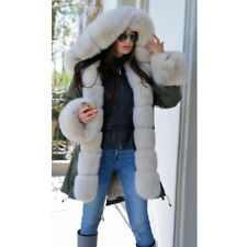 Women Real Full Pelt Fox Fur Collar Rabbit Fur Lining Parka Coat Jacket Overcoat