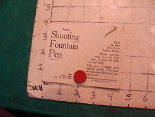 Vintage toy: old ADAMS SHOOTING FOUNTAIN PEN card and button only NO PEN