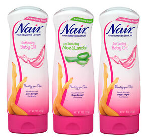 3 Nair Hair Remover Lotion Baby Oil Soothing Aloe Lanolin Skin Lot BEST PRICE !