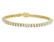 """Yellow Gold Finish Sterling Silver 3D Simulated Diamond 5MM Tennis Bracelet 8.5"""""""