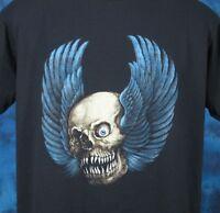 vintage 80s WINGED SKULL BIKER PAPER THIN T-Shirt M/L skeleton rock punk satan