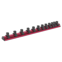 "AK27083 Sealey Socket Retaining Rail Magnetic 3/8""Sq Drive 12 Clips"