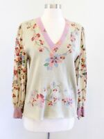 Vtg Anne Crimmins Pale Sage Green Floral Sweater Sz M Retro Cottagecore Cottage