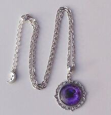 Bewitching Purple Pentagram Glass Cabochon Pendant Chain Necklace.Pagan Wicca.