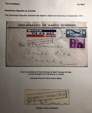 1944 Dominican Republic Archbishop Censored Airmail Cover To Banff Canada