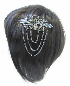 Charcoal Silver Beaded Hair Comb Vintage Flapper 1920 Great Gatsby Headpiece V19