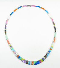 ".950 fine silver multi-colored opal necklace long curved centerpiece 17"" long"