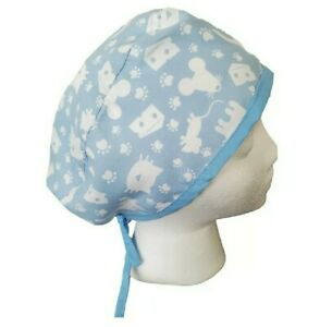 Surgical Scrub blue & white cats veterinary dentist medical surgical cap