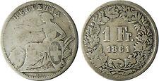 SUISSE  ,  1  FRANC  ARGENT  1861 B  BERNE
