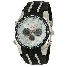 U.S. Polo Assn. US9061 Mens Sport Watch Black Rubber Strap White Dial Alarm US