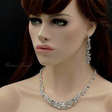 Silver Plated Clear Crystal Necklace Earrings Bridal Wedding Jewelry Set 00052