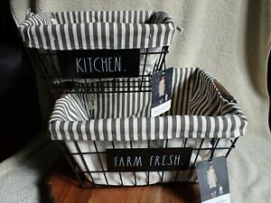 2 NEW Rae Dunn FARM FRESH KITCHEN Fabric Lined Nested Baskets