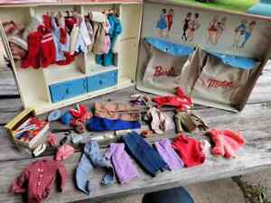 Vintage 1964 Mattel Barbie and Midge Carry Case With Clothing and Accessories